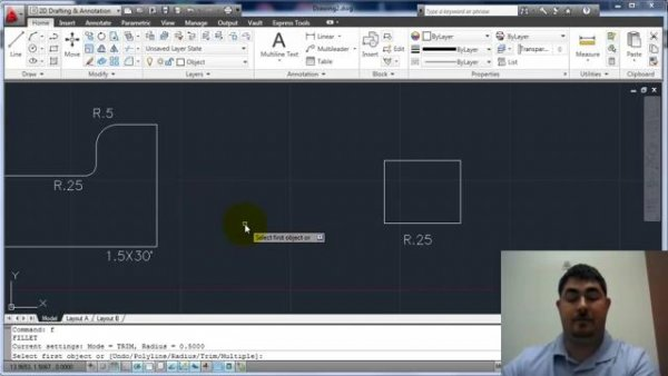 دستور های FILLET , ARRAY در AUTOCAD